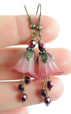 Dangle Earrings Long Earrings Beaded Jewelry . Wine Pink by Dalim. She sells her items. I want to make something a bit like this. So pretty!