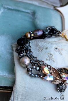 Gatsby Inspired Bracelet~ Vintage Rhinestone, Pearls, Gemstones and more~ http://www.simplymeart.etsy.com