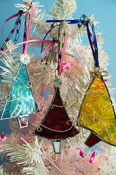 Stained Glass Christmas Tree Assorted Set of Three by Miloglass