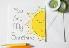 You Are My Sunshine handmade greeting card, Best friends card, Birthday card £2.50