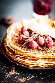 Pancakes with Chocolate, Cherries, Almonds  Amaretto