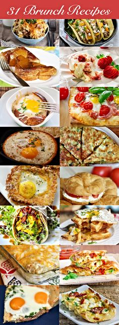 Crockpot cheesy potato tots, strawberry rolls with cream cheese icing, spinach and ricotta brunch bake, sunny side up breakfast prosciutto pizza, cheddar brunch waffles and cream cheese-stuffed pineapple french toast ...to name a few ;) enjoy!