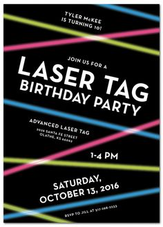 Laser Tag Birthday Party Invitation from www.papersnaps.com http://www.papersnaps.com/invitations/kids-birthday-party-invitations/laser-lights-kid-s-birthday-party-invitation.html