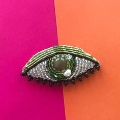 Embroidered Eye brooch bead embroidery brooch Handmade