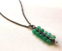 Bar Pendant  Chrysoprase and Sterling Silver by MarieCarter, $78.00