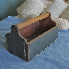 Vintage Wooden Tool Carrier with Grip Old Blue Paint | eBay