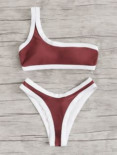 Red Contrast One Shoulder Top Swimsuit High Cut Bikini Bottom High Cut Bikini, Red Bikini, Bikini Bottoms, One Shoulder Bikini, One Shoulder Tops, Swimsuit Tops, Bikini Swimwear, Bikini Outfits, Cute Swimsuits
