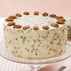 Italian Cream Cake Recipe Desserts with butter, shortening, sugar, large eggs, vanilla extract, all-purpose flour, baking soda, buttermilk, flaked coconut, cream cheese frosting, chopped pecans, pecan halves