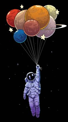A spaceman holding a bouquet of by a moon. Space