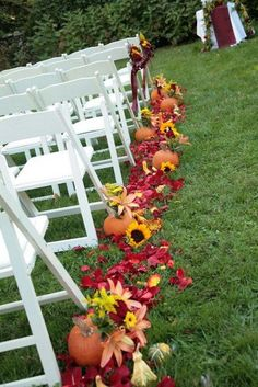 I love this festive fall wedding aisle idea - so bright! Would match that first bouquet they mentioned fall wedding styles / rustic october wedding / fall wedding stuff / fall wedding autumn / wedding ideas fall november Wedding Aisles, Wedding Aisle Decorations, Our Wedding, Dream Wedding, Wedding Venues, Wedding Blog, Wedding Stuff, Wedding Website, Wedding Centerpieces