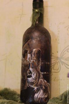 Подарочное оформление бутылок ручной работы. Ярмарка Мастеров - ручная работа Бутылка вина, подарок, декупаж. Handmade.