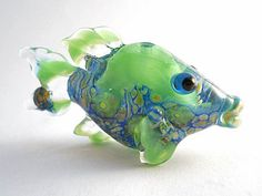 Limey green fish pendant, glass bead necklace, Lampwork Glass Beads, handmade focal bead, ocean bead, jewelry supplies, SRAJD, CGGE