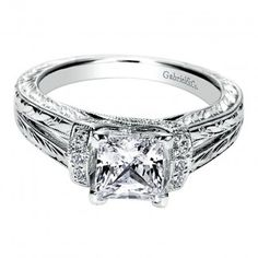 62fe8212e Engagement Ring 14k White Gold Diamond Straight Engagement Ring Settings,  Princess Cut Engagement Rings,