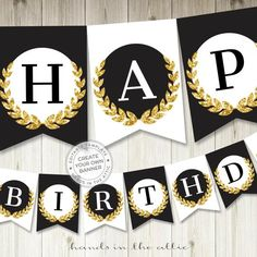 Gold glitter party banner gold and black party decor printable black and gold banner alphabet EDITABLE name garland birthday DIGITAL by HandsInTheAttic Glitter Party, Gold Party, Black Party, Gold Glitter, Happy Birthday Banner Printable, Free Printable Banner Letters, Banner Template, Black Banner, Gold Banner