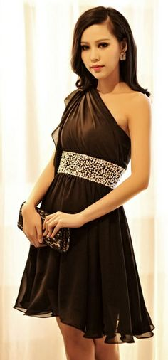 A line black one shoulder dress with bejeweled waist. I'd wear this!