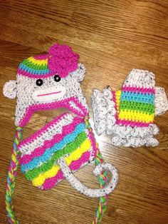Jailey Bugs Pink Rainbow Sock Monkey With Flower Tail by puzo2352