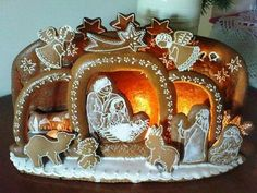 Gingerbread Manger Scene:  I still make so many gingerbread houses, Christmas tree decorations, that I finally have nothing for us :-) But last Christmas I finally made a gingerbread