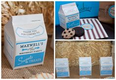 Milk carton favors Vintage Milk and Cookies Birthday Party - Blue - Printables Collection