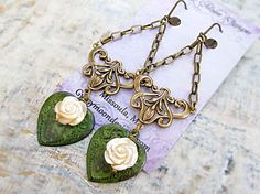 Valentine earrings Patina heart chandelier by Gypsymoondesigns