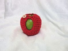 Apple/fruit cozy crocheted in bright red cotton yarn by Susietoos, $8.00
