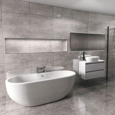 The Florence Freestanding Bath is as affordable as it is stylish! This chic option adds a stunning element to any modern bathroom design. Grey Modern Bathrooms, Grey Bathrooms Designs, Grey Bathroom Tiles, Loft Bathroom, Modern Bathroom Design, Bathroom Interior, Ensuite Bathrooms, Small Bathtub, Small Bathroom