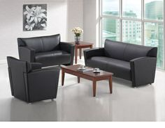 Black tribeca reception seating. Available at Alternative Office Solutions  408-776-2036.