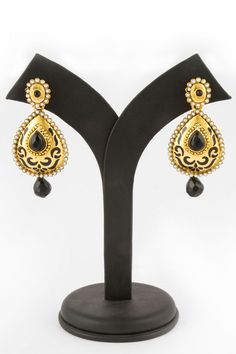Golden Crystal Studded Jhumka Earrings with price $10.79 now available #Andaazfashion.  http://www.andaazfashion.us/jewellery/earrings/colour/white-earrings
