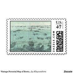 Vintage Pictorial Map of Boston Harbor (1897) Stamp