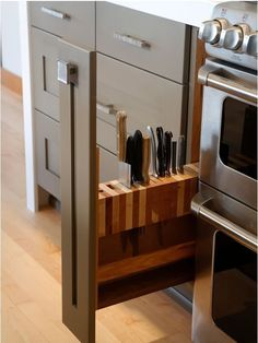 How do you store your knives in the kitchen? There are advantages and limitations to every solution: Magnetic racks take up wall space (and scare some people!); knife blocks consume precious counter space; drawer inserts can monopolize a drawer better used for other things.   	Here's an interesting idea, and one that makes use of an otherwise unusable space: an ultra-narrow pull-out.
