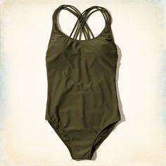 Classic One Piece Swimsuit with strappy back detailing, scoop neckline, Imported<br><br>80% Nylon / 20% Elastane