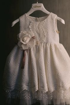 Embroidered baptism dresses made in Greece by DOLCE bambini. Romantic philosophy, hand beaded details, headbands and accessories that you will adore! Baptism Clothes, Baptism Outfit, Lace Christening Gowns, Baptism Dress, Embroidered Flowers, Dress Making, Philosophy, Headbands, Wedding Gowns