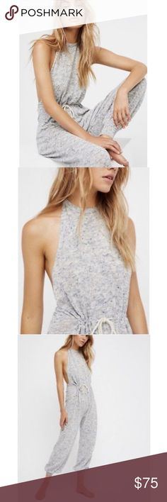 🌟NEW🌟 Free People Free People Walk on a Beach halter romper. Knit knubby fabric. Halter style with and open back. Perfect for late spring or summer, casual, beach, or lounging. Two available- one blue and one pink both size large. The stock images are of the blue but I find the color to be more obvious in person. No flaws I can find. Free People Pants Jumpsuits & Rompers