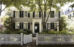 I have always loved gray houses and I have always wanted a fence in front too!