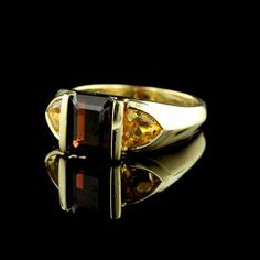 14K Yellow Gold Garnet and Citrine Ring