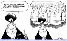 """This is a political cartoon of Iran's nuclear war deal. The cartoon thinks that Khamenei is straight up lying to us, when he has a totally different and more destructive second idea. When Khamenei means """"peace"""", he means the letter on the gravestone. (EXTRA)"""