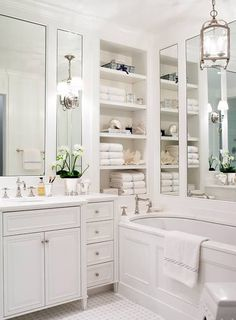 Storage space & narrow tub