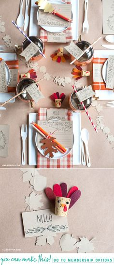 DIY Printable Thanksgiving Kid's Table Projects - www.LiaGriffith.com #Thanksgiving #ThanksgivingDIY #FallDIY #DIYFallIdeas #KidsTable #ThanksgivingPrintables