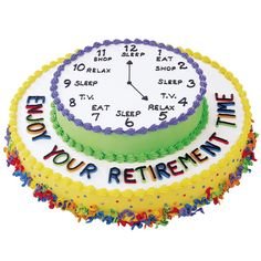 Isn't this the dream schedule?  Sleep, eat, shop, relax...I'm on board for that!  A fun cake to make for a friend or family member who is retiring from the work force, this Enjoy Your Retirement Cake features an updated clock of what can be done with all the new free time!  Large enough to feed 42 people, this is a great cake to make for an office party or large retirement party, as it will feed several guests.  Decorated using simple decorating techniques, like the shell and dot, this cake…
