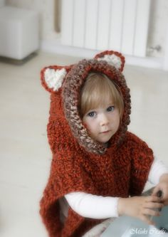 This is a crochet pattern for hooded fox poncho Max. The poncho is worked with basic stitches and super bulky yarn, seamed from the shoulders. Perfect for a little boy or girl to keep warm and look cute. Work it in gray yarn to make it into a Wolf poncho. Crochet Buttons, Crochet Stitches, Crochet Hooks, Knit Crochet, Crochet Patterns, Crochet Vests, Crochet Cape, Crochet Edgings, Crochet Shirt