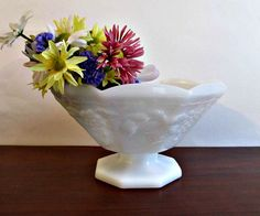 White Milk Glass Compote Vintage Serving Fruit by LizzieJoeDesigns