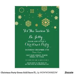 Christmas Party Green Gold Snow Flakes Invite