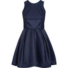 Maje Grease woven mini dress ($187) ❤ liked on Polyvore featuring dresses, blue, blue mini dress, flare dress, fitted dresses, short loose dress and flare mini dress