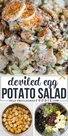 Deviled Egg Potato Salad is the best tasting combination of deviled eggs and potato salad. This easy recipe is loaded with tasty ingredients. The recipe instructions detail how to make this yummy side dish on the stove pot or in your Instant Pot (my preferred method). The flavor and texture is incredible! #potatosalad #deviledegg #instantpot #best #bacon #recipe #easy Deviled Egg Potato Salad, Deviled Eggs, Bacon Recipes, Healthy Salad Recipes, Potato Recipes, Turkey Recipes, Vegan Recipes, Free Digital Scrapbooking, Farmers Market