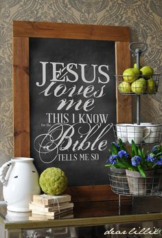 Jesus Loves Me by Dear Lillie ~ Love this as a child had a album with this song I spend hours listening to ; Chalkboard Print, Chalkboard Signs, Chalkboards, Chalkboard Ideas, Chalk Pens, Chalk Art, Church Interior Design, Dear Lillie, Christian Decor