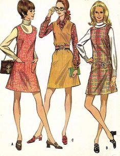21ff6af39 Jumper Pattern, McCalls 2070, Misses Size 8, Sleeveless, V Neck, Jewel  Neck, Scoop Neck, Back Zipper, Patch Pockets, 1960s Clothing