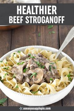 This healthier beef stroganoff takes just 30 minutes to make. It uses no butter … This healthier beef stroganoff takes Beef Recipes, Cooking Recipes, Healthy Recipes, Easy Recipes, Dinner Recipes, Recipies, Chicken Recipes, Yogurt Recipes, Healthy Beef Stroganoff