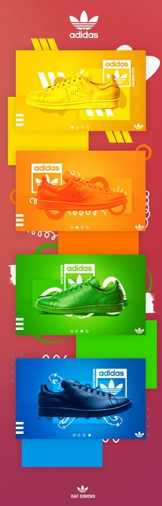 This is some UI Banner work for Raf Simons Adidas shoes. These are just some experimentation of some new brushes and a more abstract styles. I had found 4 of the shoes which are different colours, therefore there is a different theme for each of the banne…