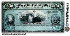 Billete de 500 Bolívares del Banco de Carabobo C.A. Año 1883