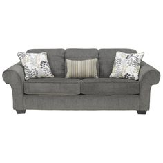 "$399  Ashley  Makonnen Sofa 93""  Not good reviews-fabric pills  in Charcoal (loveseat $369)  Good Reviews  Nebraska Furniture Mart"