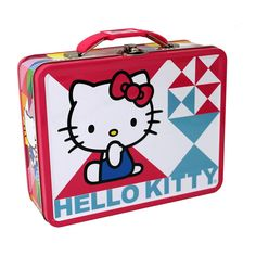 This is a Hello Kitty themed tin lunch box. This is the Hello Kitty Oh My! version and it looks great. Featuring Hello Kitty and some neat geometrical graphics, it's brightly colored and very cute. Co